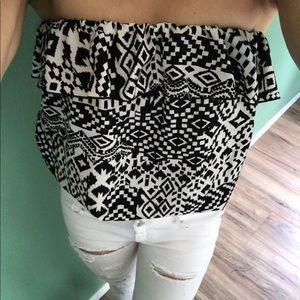 Tops - Black & white geometric tribal Strapless Crop Top